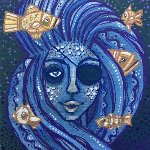 blue mermaid hair painting