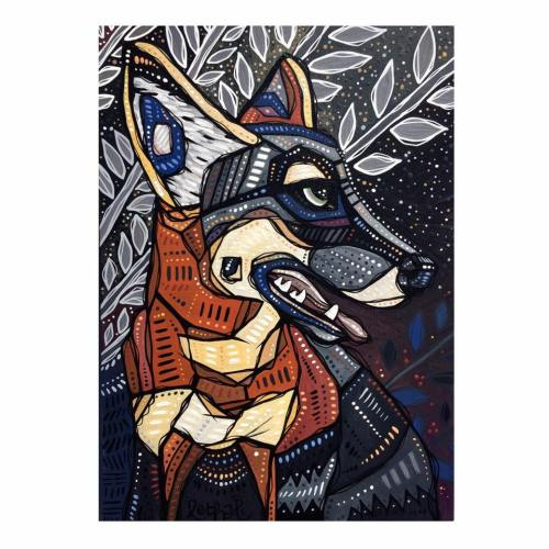 night fox contemporary wildlife art painting